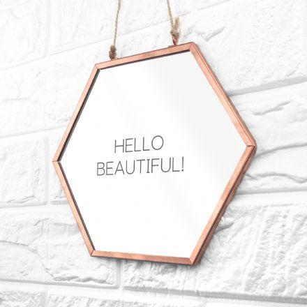 Personalised Hexagon Copper Mirror